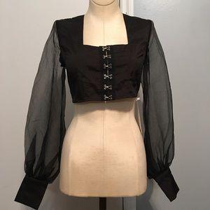 Black crop top with hook front & sheer sleeves